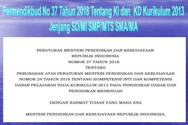 Permendikbud No 37 Tahun 2018 KI-KD SD/MI SMP/MTs SMA/MA